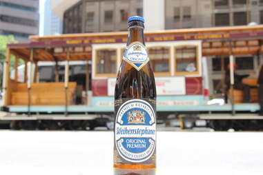 Weihenstephan Original Lager in front of a trolley car