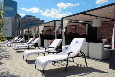Cabanas and chaise lounges at the Revere Hotel