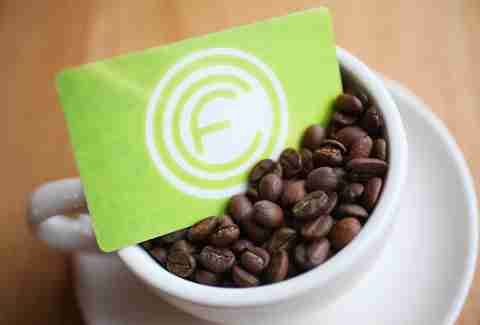 Cup of coffee beans at OCF