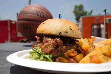 Svante's Space Jam burger next to a basketball