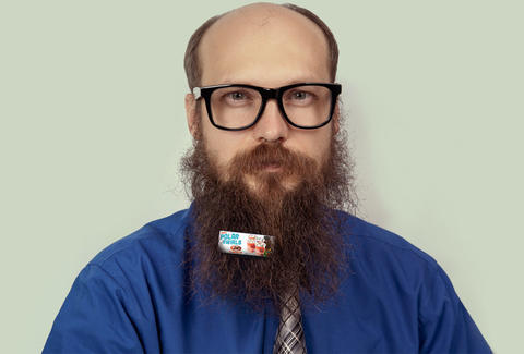 Guy with Beardboard on
