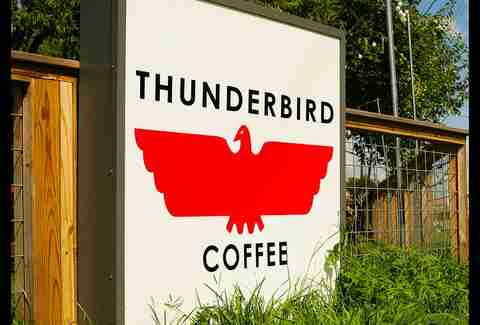 The sign at Thunderbird Coffee