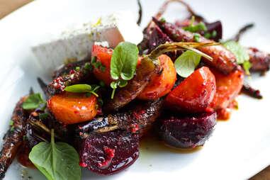 King + Duke - Wood Roasted Farm Carrots & Beets with feta and harissa