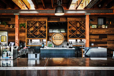 The wine tasting bar at Solterra Winery and Kitchen in Leucadia.