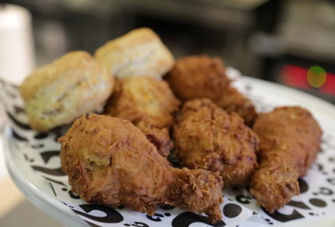 Hybird fried chicken and biscuits