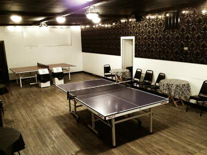 Ping-pong room at Happy Village in Chicago
