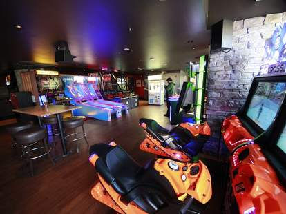 The game room at Grand Central Bowl.