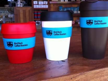 Coffee cups at Bird Rock Coffee Roasters