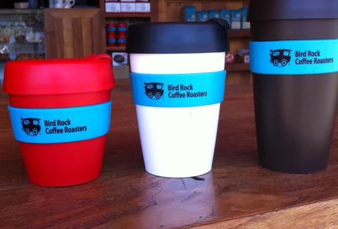 Coffee cups at Bird Rock Coffee Roasters