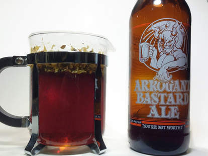 French pressed beer with Arrogant Bastard Ale