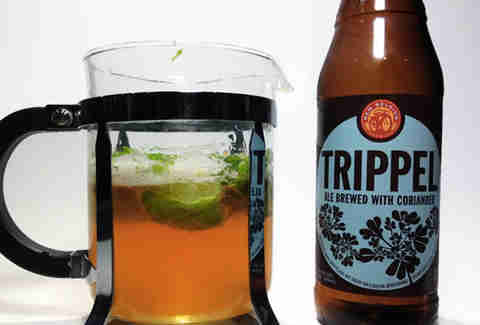French pressed New Belgium Trippel