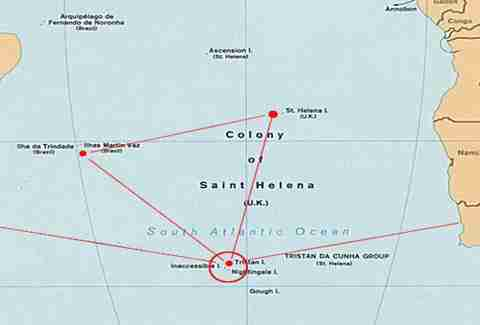 Map of Tristan da Cunha the most remote island in the world