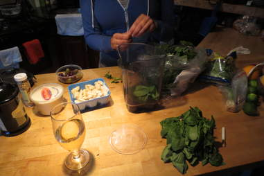 Making pesto