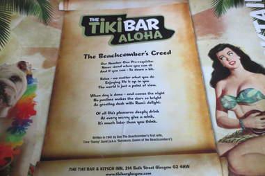 Tiki Bar & Kitsch Inn menu