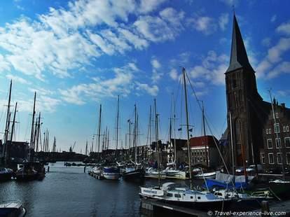 Harlingen The Netherlands ships in small harbor