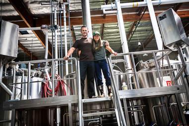 Saint Archer brewers Ray Astamendi and Kim Lutz.