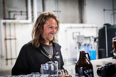 Pro skateboarder Bryan Herman at Saint Archer Brewery in San Diego.