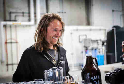 Pro skateboarder Bryan Herman at Saint Archer Brewery in San Diego.