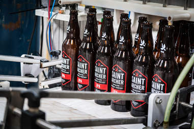 Saint Archer IPA being bottled at the Saint Archer Brewery in San Diego.
