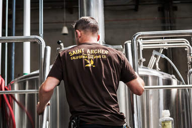 Head brewer Ray Astamendi at Saint Archer Brewery in San Diego.