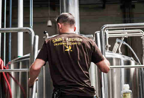 Head brewer Ray Astamendi at Saint Archer Brewery in San Diego.