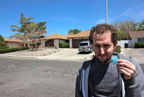 guy standing in front of Walter White's house from Breaking Bad