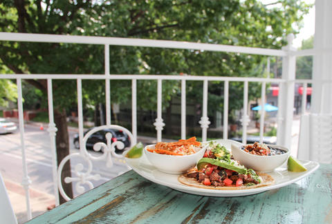 Tacos on the upstairs patio at Pozo Mercado, Dallas TX