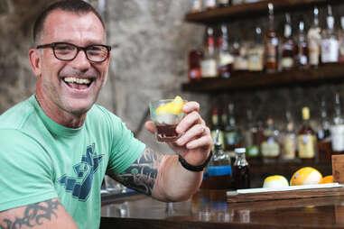 Scranton Twohey drinks a Hunter at Whisler's Bar