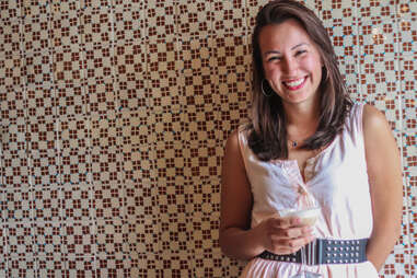 Carolyn Gil from Weather Up drinks a coffee mezcal cocktail