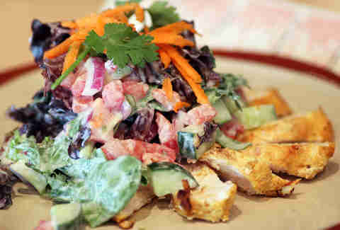 tandoori-style chicken salad w/ mixed greens and mint-yogurt dressing at Hit Wicket