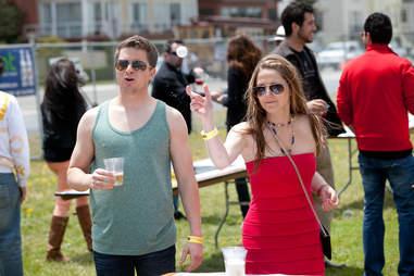 Beer pong at The San Francisco Lawn Party