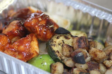 BBQ chicken kabob at Kabomelette in Minneapolis.