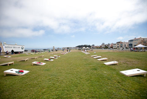 Cornhole set up at Marina Green