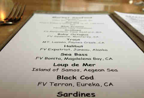 The menu at Navio