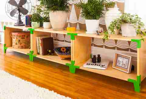 Long Soapbox shelf with green hardware