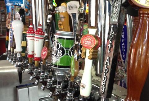 Beers on tap at Bub's at the Ballpark in San Diego