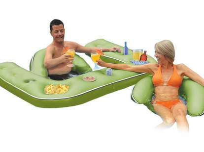 stocked Floating Bar with floating lounger