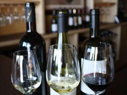 three glasses of wine at Veritas Wine Room Dallas texas