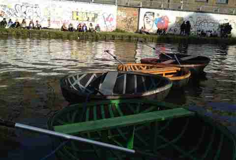 Boats on the canal at Crate Brewery