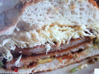 Chile Guajillo Marinated Butterfly Pork Chop Sandwich
