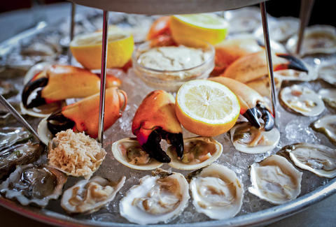 Oysters, clams, and king crab legs at Jeffrey's Grocery Restaurant & Oyster Bar