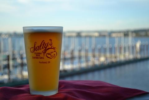 Beer at Salty's on the Columbia patio area