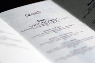 Cocktail menu at Centre Street Sanctuary