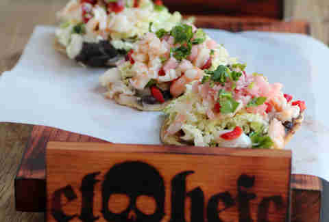 Camarone ceviche tostadas at El Hefe in River North