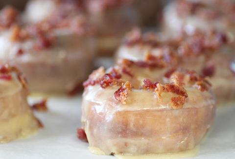 Maple glazed donuts with bacon