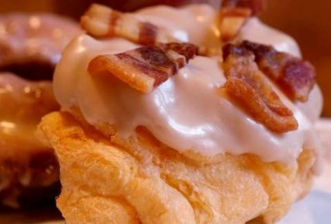 Maple donut with candied bacon