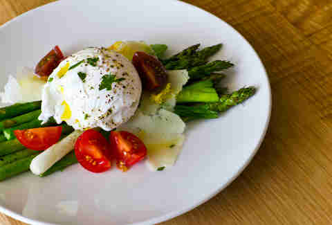 Saltyard - poached farm egg over asparagus and heirloom tomatoes w/ pecorino