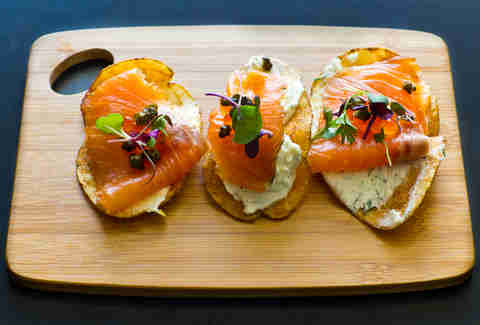 Saltyard - house-cured salmon chips w/ lemon-dill marscapone and salmon roe