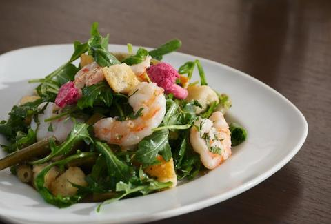 poached shrimp salad, pickled vegetables, chili-shallot vinaigrette