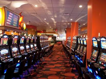 Interior shot of slot machines